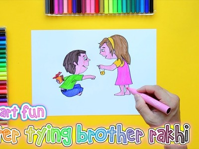 How to draw and color Rakhi celebration kids
