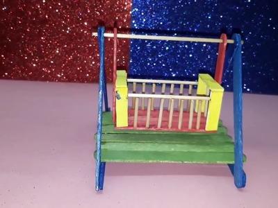 How to make a miniature Popsicle Sticks Baby cradle   Kulfi Stick Jhula   Bipul Project
