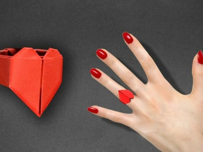 How to make a origami heart ring ||paper heart ring√√