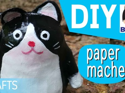 How to make a paper mache cat cartoon for kids crafts diy . สอนทําเปเปอร์มาเช่ แมว การ์ตูน ง่ายๆ