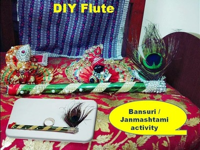 How to make Bansuri. Janmashtami Kanha flute.Jamashtami activity for kids,preschool