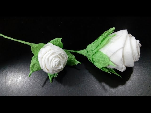 How to make beautiful White Rose Flower from Toilet Paper.Tissue Paper Flower