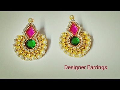 How To Make Designer Earrings. How To Make Paper earrings at home. DIY Party Wear earrings