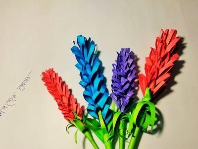 How to make lavender paper flower| DIY origami paper flower.