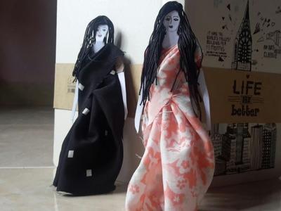 How to make sari wearing paper doll