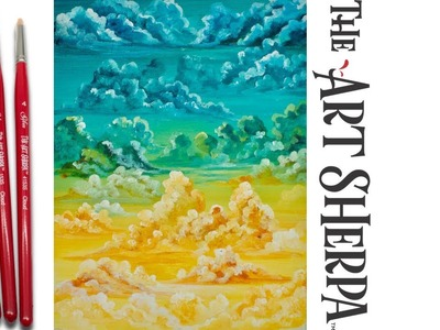 How to Paint fluffy Clouds beginner Acrylic Painting the Art Sherpa ????????????
