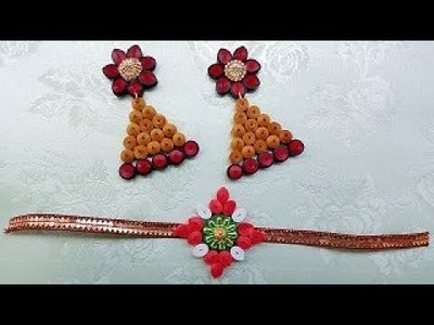 How To |  Quilling Rakhi with Beautiful Earrings | Paper Quilling Art