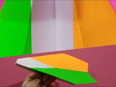 Independence Day Crafts | How to make Tricolour paper Aeroplane with indian flag colours.
