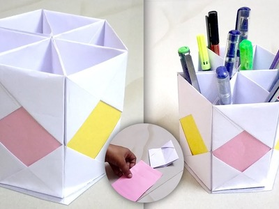 Pen stand from waste material | Origami pen holder | Pen holder from paper