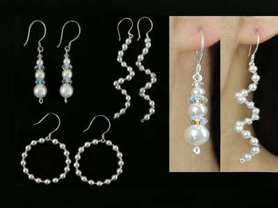 3 Easy DIY Pearl Earrings. Wire and Beading Pearl Earrings, Spiral Earrings and Hoop Earrings