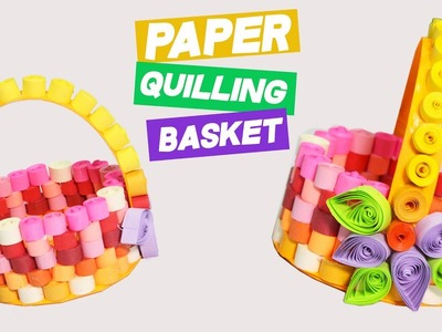 3 Minute Crafts. DIY Paper Quilling Basket with Quilled Flowers decor. Quilling Art & Crafts ideas