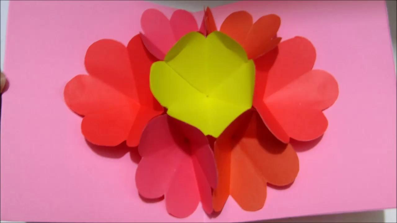 3d flower friendshipday card. paper carft -rihan rini