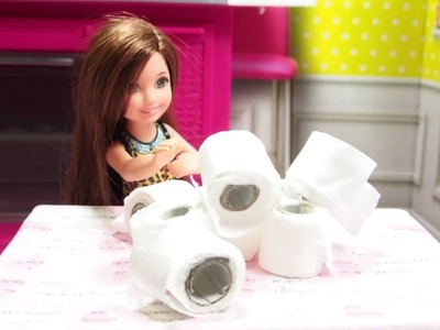 Barbie Miniature Toilet Paper - DIY Barbie Toilet Paper Roll