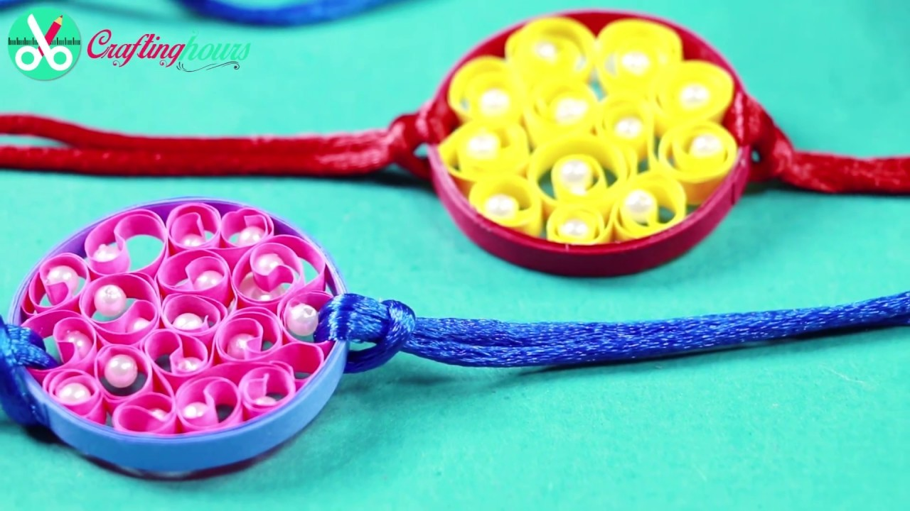 Beautiful Rakhi Making Idea with Paper Quilling and Silk Thread