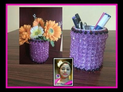 Crystal beads work.Pen holder.DIY pen stand crafts idea
