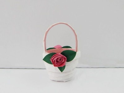 Decoration Basket With Roses DIY Quilling Papercraft