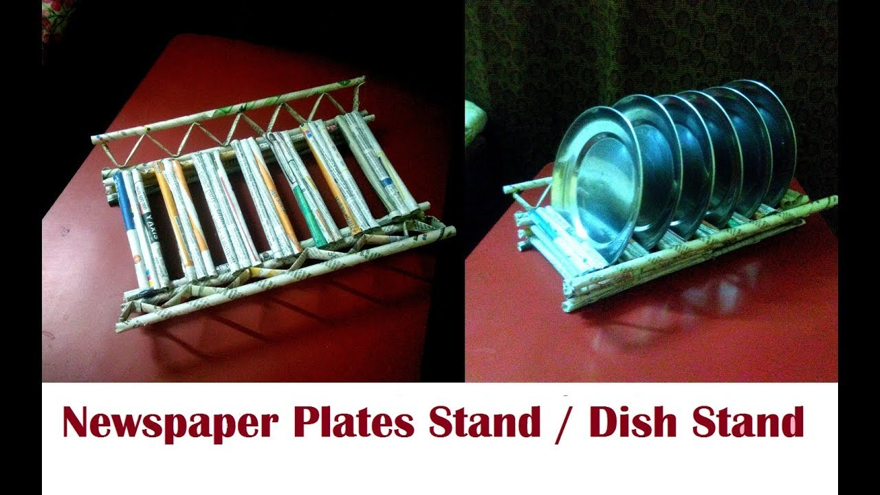 Dish stand. Plates stand for kitchen using newspaper |  DIY Newspaper Plates stand Newspaper Craft