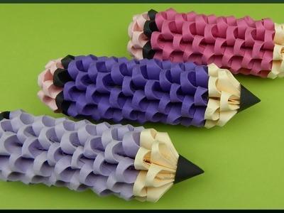 DIY   3D Origami   Papier Stifte Deko   Paper Pencil. Pen   Back to school idea