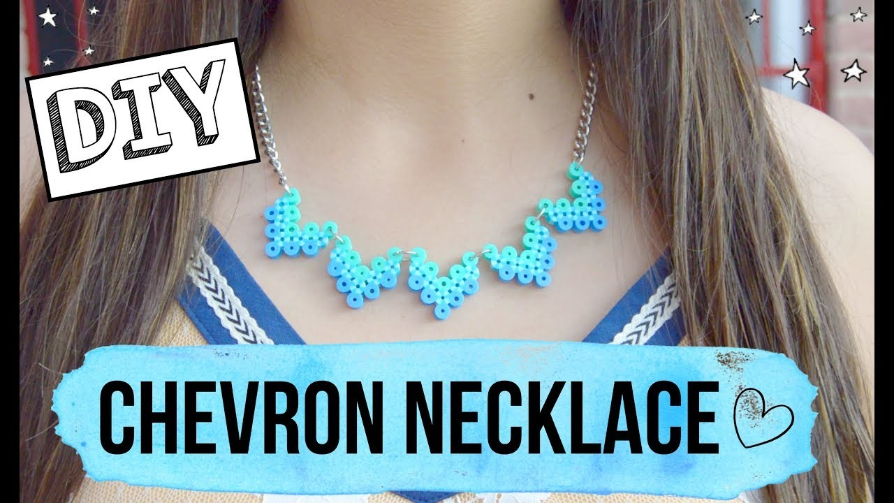 DIY Chevron necklace.how to make a perler beads necklace