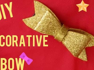 Diy Crafts :Decorative Bow - VERY EASY  decorative glitter foam bow