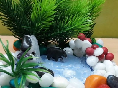 DIY crafts:HOT GLUE WATERFALL ||Miniature pond and Bear