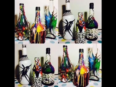DIY Decorating Bottle with Crayons and Egg Shell
