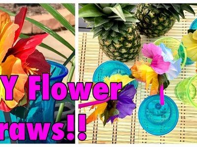 DIY Hawaiian Luau Tropical Flower Straws