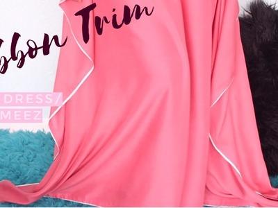 DIY How to Sew White Ribbon Trim to a Dress.Kameez