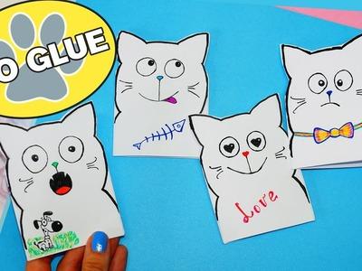 DIY Kawaii cat notebook of 1 sheet of paper | No glue notebook | DIY School Supplies Back To School