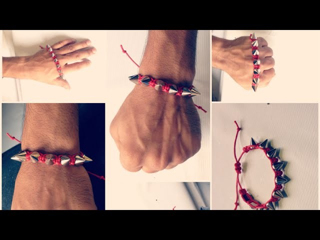 DIY   men's bracelet ???? How to make bullet beaded Adjustable Bracelet   Cord knot bracelet