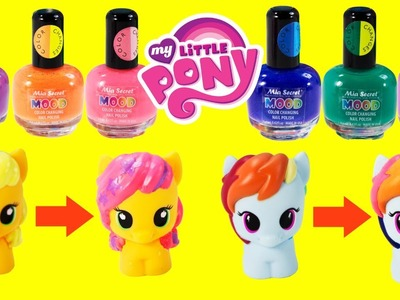 DIY MY LITTLE PONY Color Changing MAKEOVER Mood NAIL POLISH Toys with Rainbow Dash and Apple Jack
