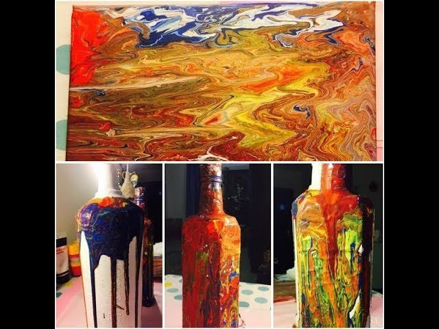DIY Painting bottle and canvas with acrylic pouring method.