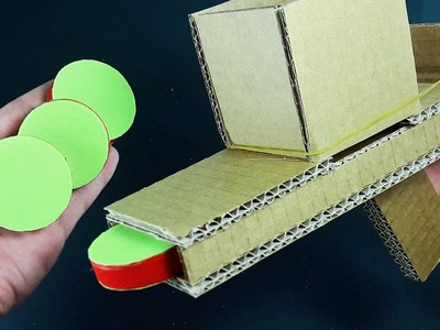 DIY   PLASTIC BOTTLE LIDS SHOOTER USING CARDBOARD   HOMEMADE TOYS
