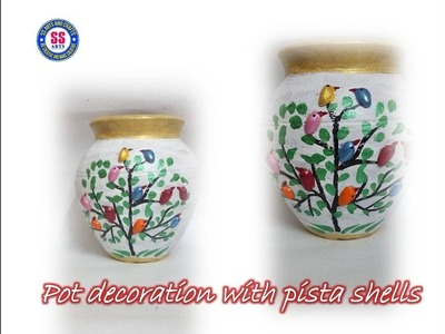 DIY||Pot decoration with Pista Shells\\Pista shells birds room decor ideas