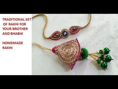 DIY TRADITIONAL LUMBA RAKHI SET.5 MIN HOMEMADE RAKHI. EASY WAY TO MAKE RAKHI AT HOME