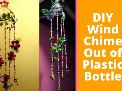 DIY  wind chime out of plastic bottle. Plastic Bottle Hanging with beads,crystals. Room decor idea
