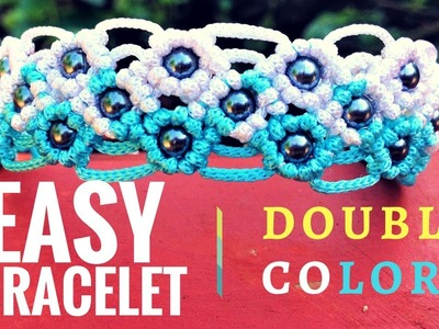 Easy DIY macrame bracelet - The Dividing double color bracelet - Step by step guide by Tita