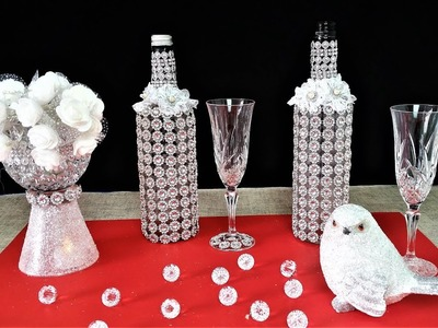 Fabulous Sparkled Wine Bottle Bling .  Easy Diy .