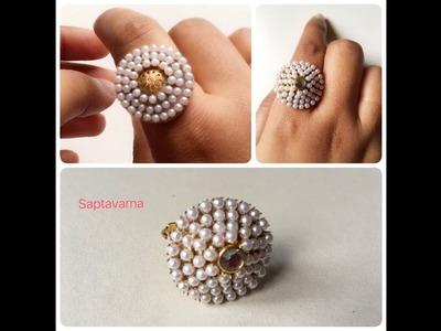 Finger ring DIY paper finger ring, pearl chain