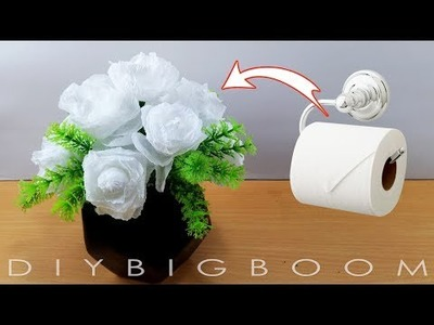 From Toilet Paper to a Beautiful White Rose Flower