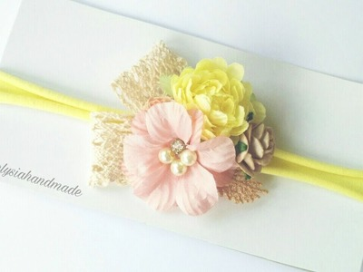 Headband Inspiration With Paper Flowers and Nylon Headband - Step by Step | DIY by Elysia Handmade