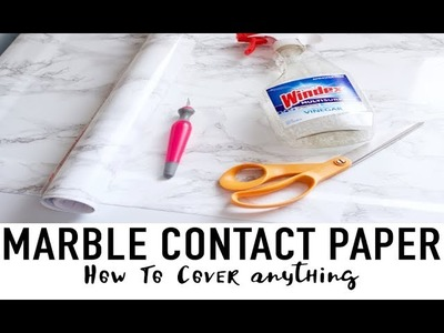 HOW TO COVER ANYTHING WITH MARBLE CONTACT PAPER   DIY