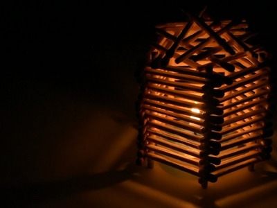 How To Make A Match Stick Candle Lampshade - DIY Homemade Lampshade | Matchstick Craft by F8ik