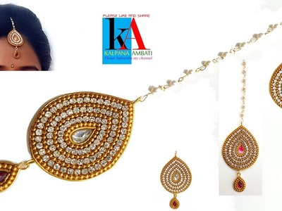 How to make maang tikka. wedding jewellery easy in 5 minutes. DIY  at home