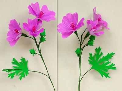 How to make Paper Flowers Musk Mallow \ Malva moschata (flower# 195)