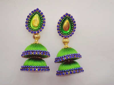 How To Make Silk Thread Earrings. DIY  Simple and Beautiful Step Jumkas Making Tutorial at Home