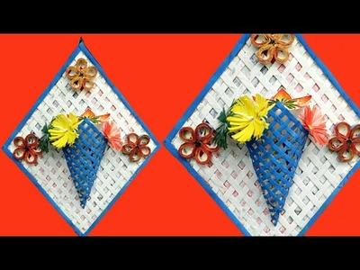 Newspaper Flower Vase | DIY newspaper crafts | Best out of Waste | wall hanging | wall decor | Diy