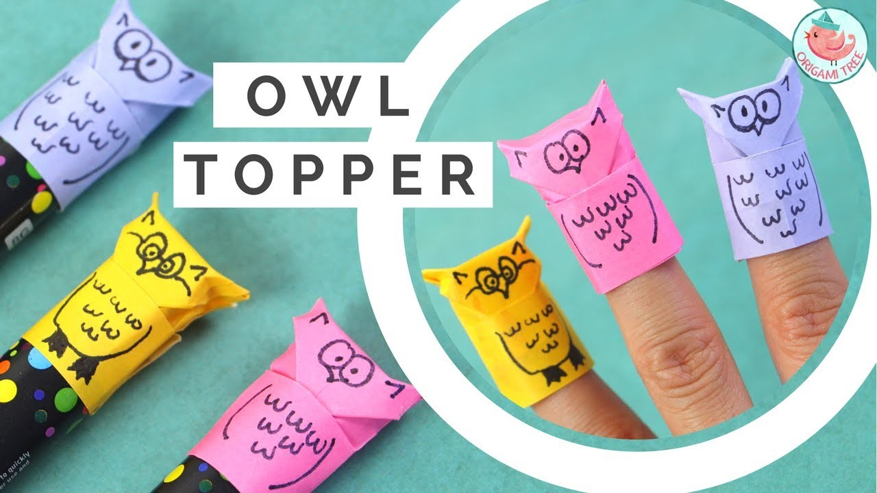 Origami Owl Tutorial! Paper Finger Puppet & Pencil. Marker Topper - Paper Crafts for Kids