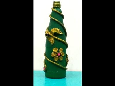 Shilpkar(m-seal) design on waste bottle || Easy diy for glass bottle|| Best out of waste