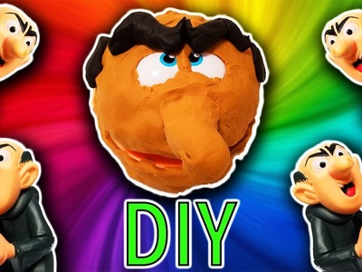 Smurfs DIY Play-Doh Gargamel Crafts For Kids! Learn Colors Drill N Fill Faces How To Video